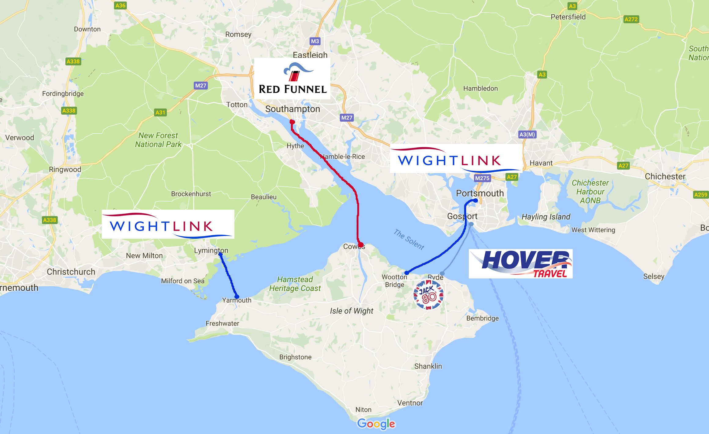 Isle of Wight ferry routes
