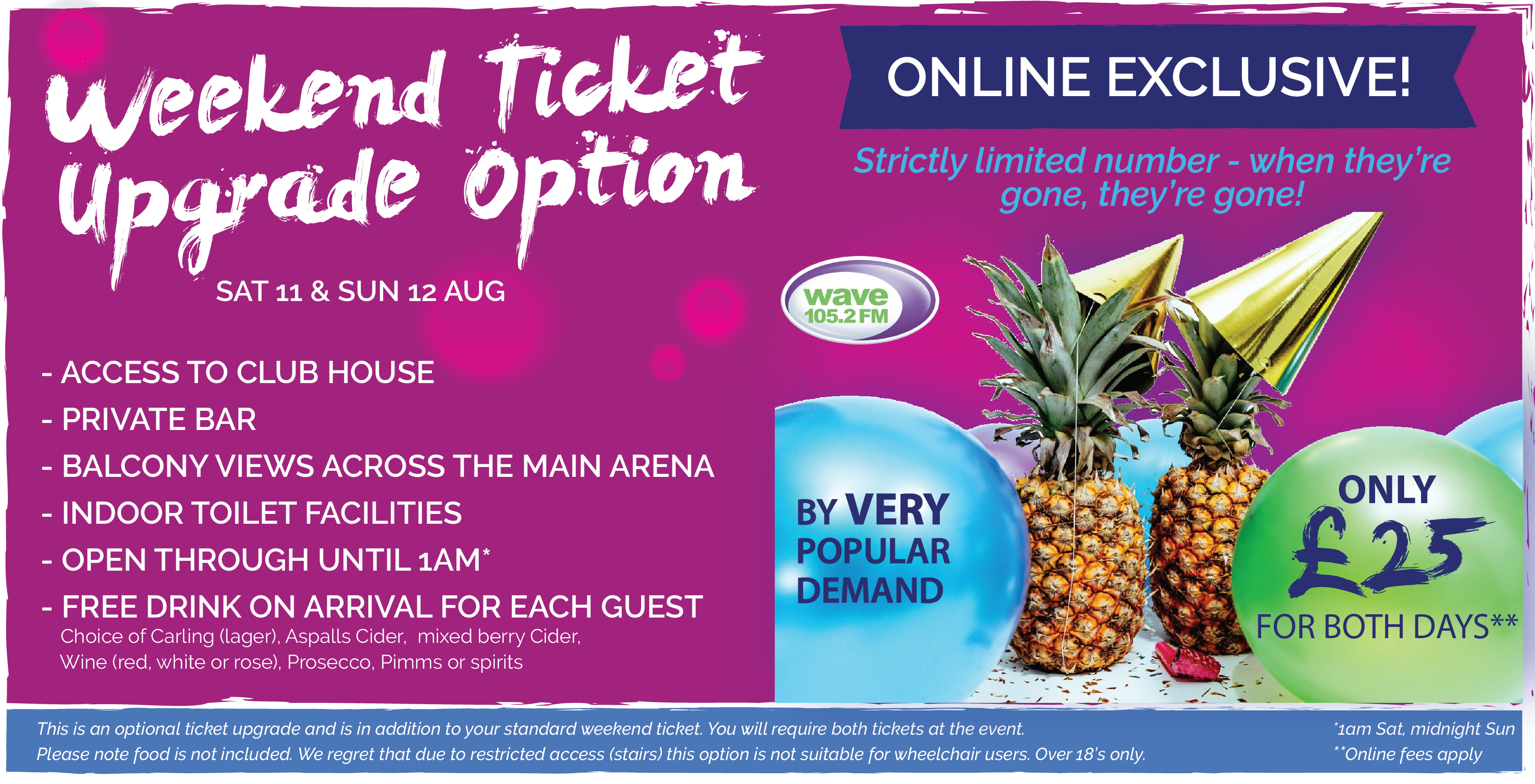 Weekend ticket upgrade option - sorry, sold out!